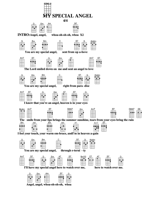 My Special Angel Chord Chart Printable pdf