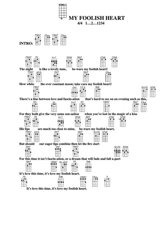 My Foolish Heart Chord Chart Printable pdf