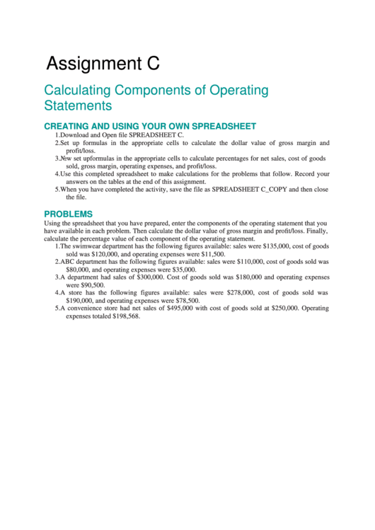 Assignment C: Calculating Components Of Operating Statements