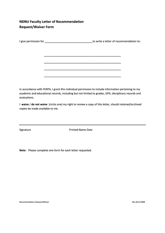 Ndnu Faculty Letter Of Recommendation Request Waiver Form