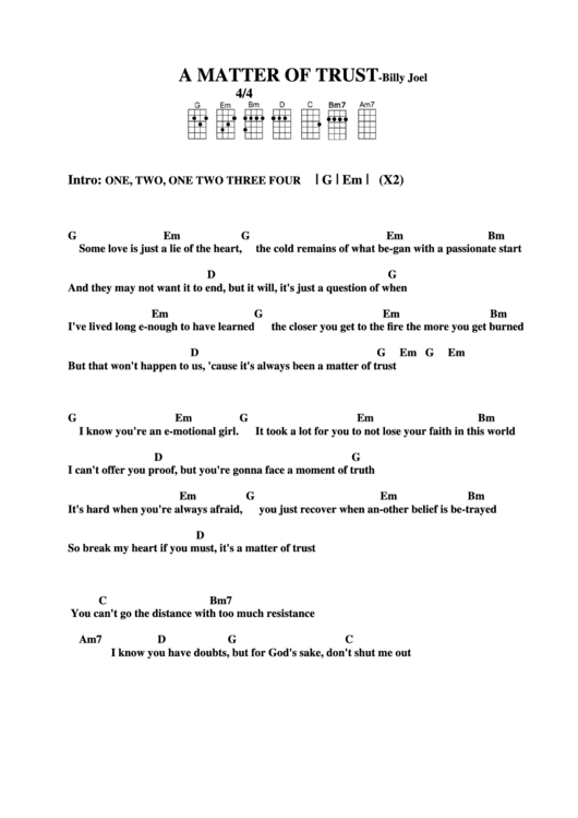 Chord Chart Billy Joel A Matter Of Trust Printable Pdf Download