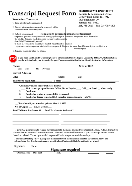 Transcript Request Form - Bemidji State University Printable pdf