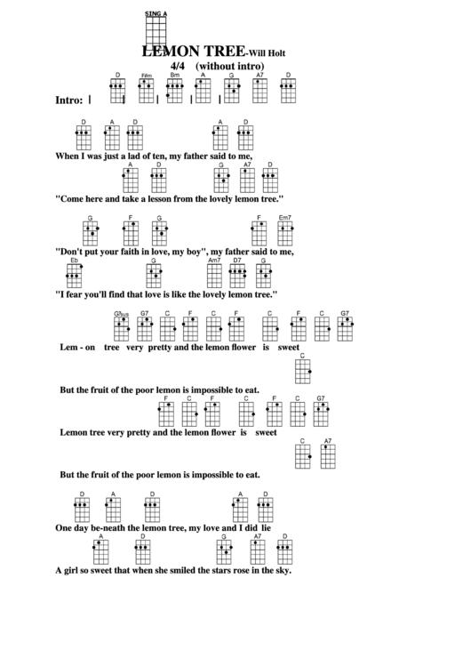 Chord Chart -will Holt - Lemon Tree printable pdf download