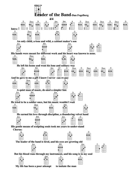 Chord Chart - Dan Fogelberg - Leader Of The Band printable pdf download