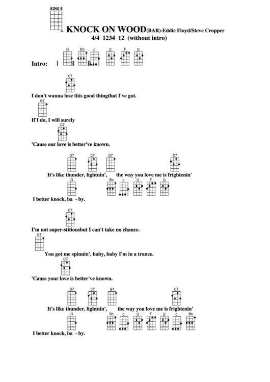 Chord Chart Eddie Floydsteve Cropper Knock On Woodbar