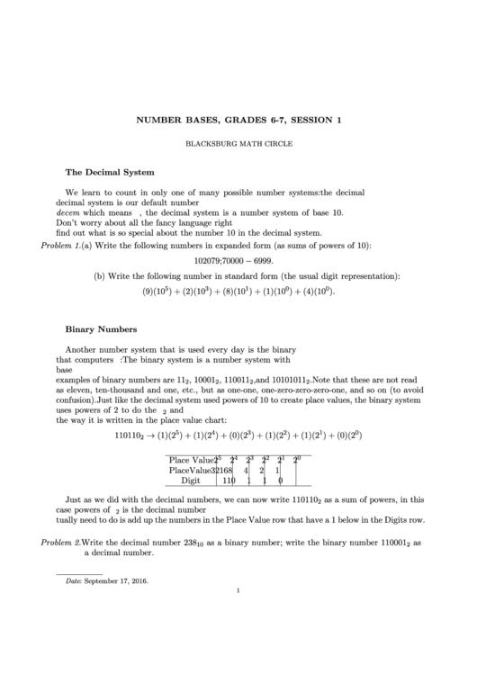 Number Bases, Grades 6-7