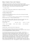 Binary Numbers Notes To The Volunteer