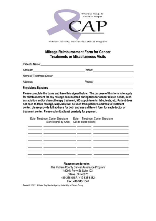 Mileage Reimbursement Form For Cancer Treatments Or Miscellaneous Visits