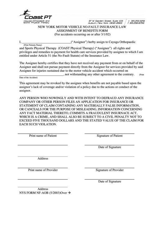 assignment of benefits form template - no fault benefits form printable pdf download