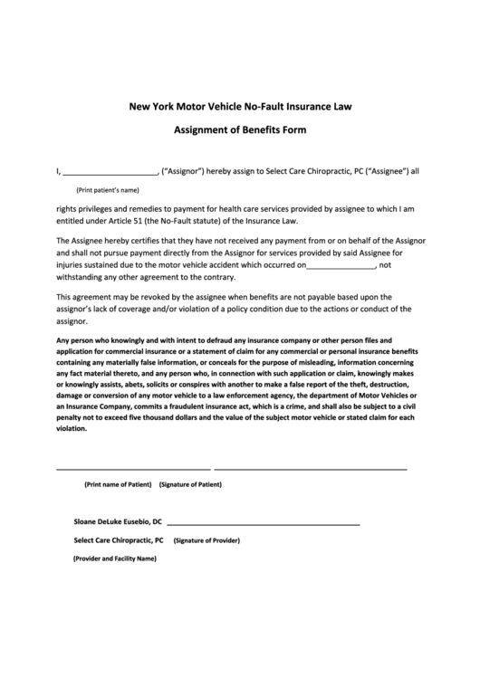 Assignment of benefits form printable pdf download for Assignment of benefits form template