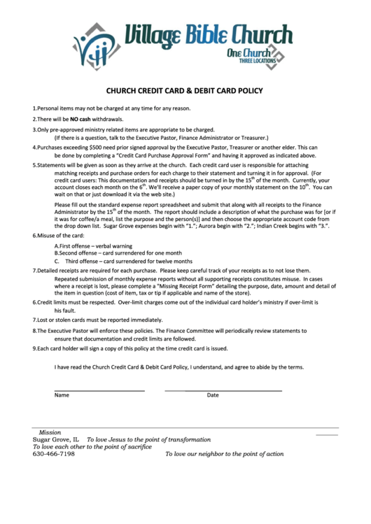 credit card policy template