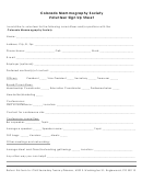 Colorado Mammography Society Volunteer Sign Up Sheet