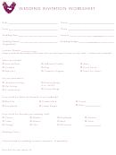 Wedding Invitation Worksheet
