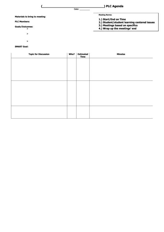 sample plc agenda template printable pdf download
