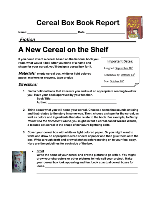 Cereal Box Book Report Form Printable pdf