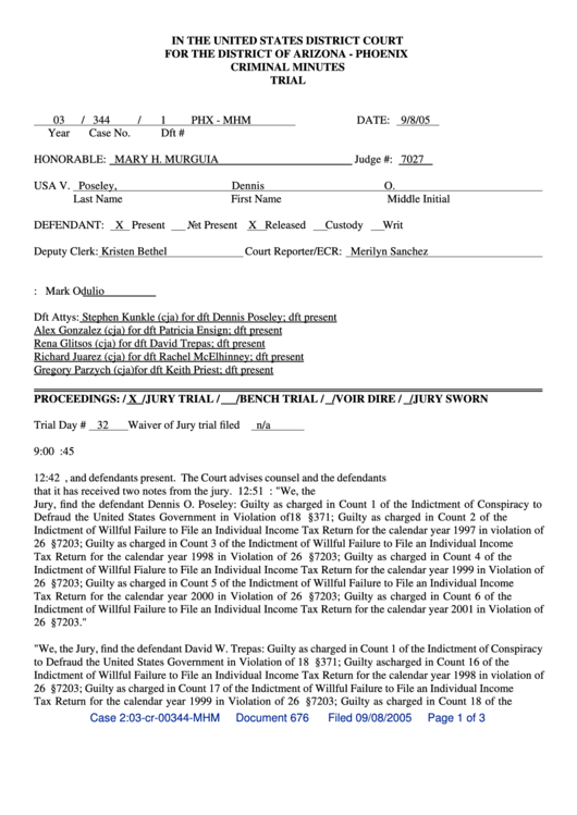 In The United States District Court For The District Of Arizona - Phoenix Criminal Minutes Trial Printable pdf