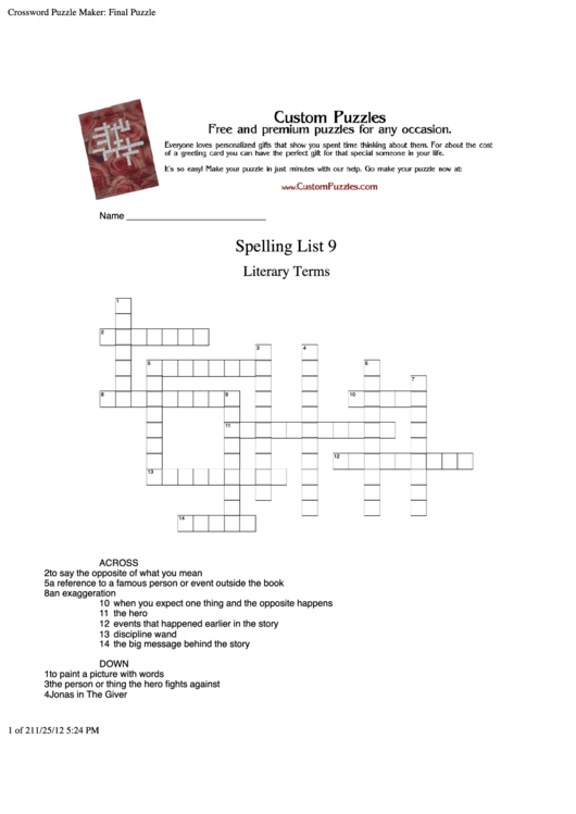 Spelling List 9 Literary Terms Crossword Puzzle Template Printable