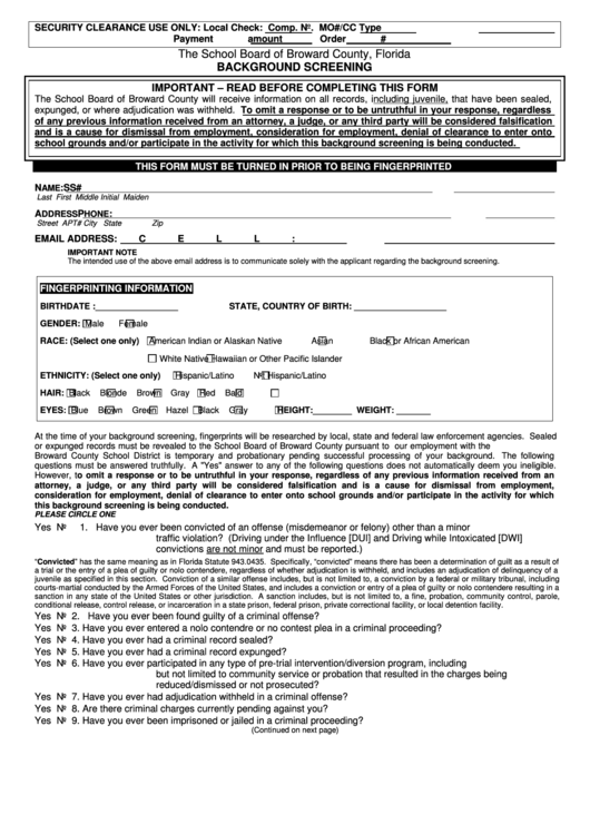 Background Check Form - Broward County Public Schools