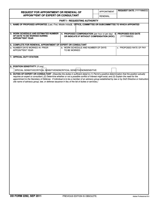 Fillable Dd Form 2292 - Request For Appointment Or Renewal Of Appointment Of Expert Or Consultant Printable pdf