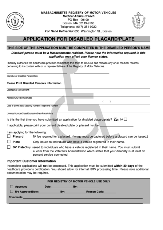 application for disabled placard plate massachusetts