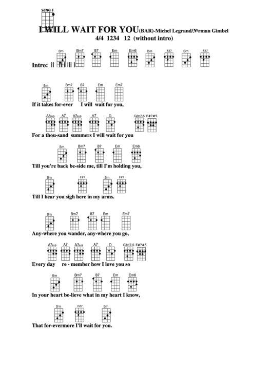 I Will Wait For You (bar) - Michel Legrand/norman Gimbel Chord Chart ...