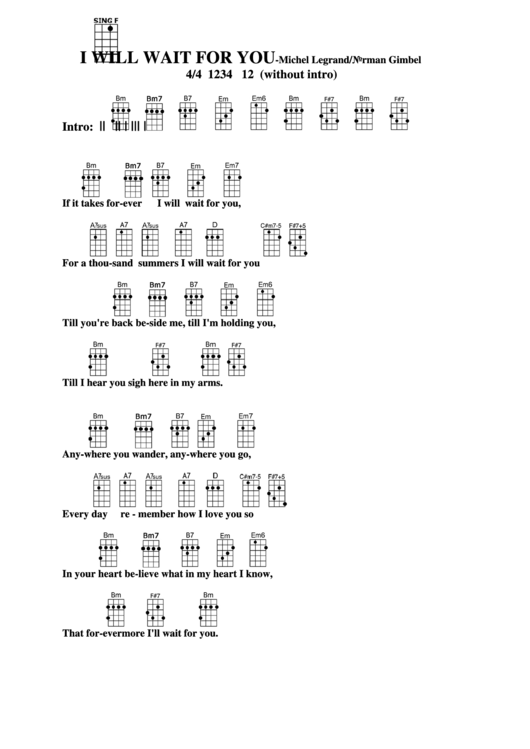 I Will Wait For You - Michel Legrand/norman Gimbel Chord Chart ...