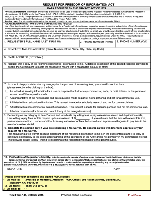 66 foia request form templates free to download in pdf foia request form templates pom form 145 data required by the privacy act of 1974 maxwellsz