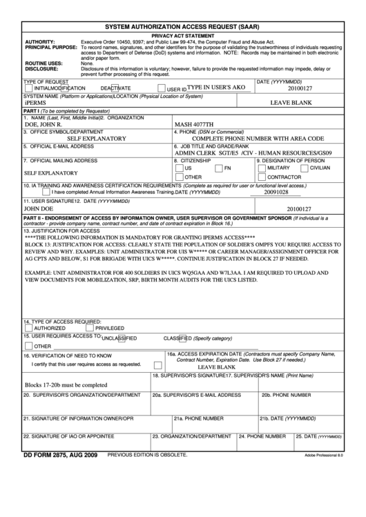 Dd Form 2875 - System Authorization Access Request (saar ...