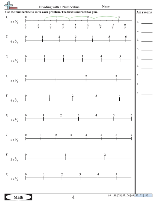 Dividing With A Numberline Worksheet With Answer Key