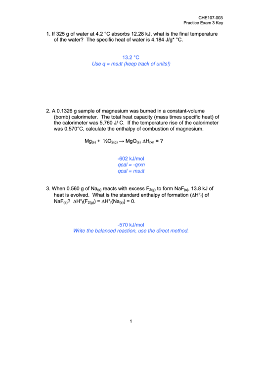 Chemistry Worksheet printable pdf download