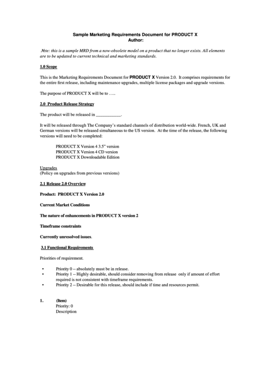 Top Product Requirements Document Templates Free To Download In PDF - Marketing requirements document template
