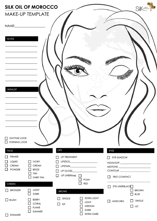 make up face template printable pdf download