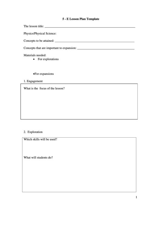 5e Lesson Plan Template Printable Pdf Download