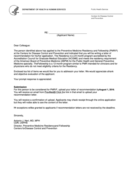 Letter Of Reference Instructions