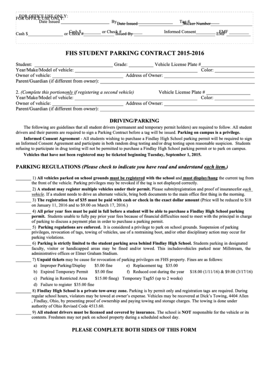 Parking Contract Form Printable pdf