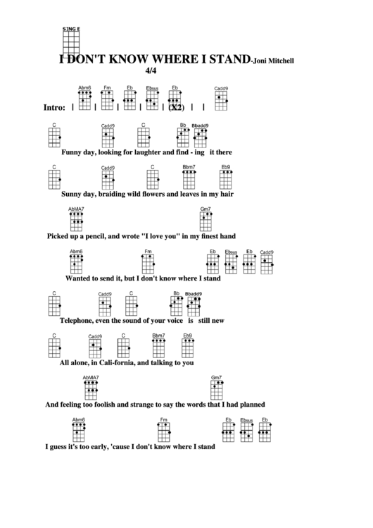 I Dont Know Where I Stand Joni Mitchell Chord Chart Printable Pdf