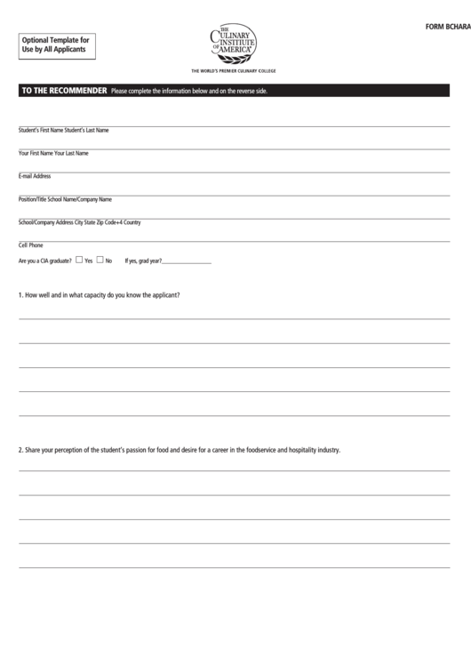 Form B Character Letter Of Recommendation Form