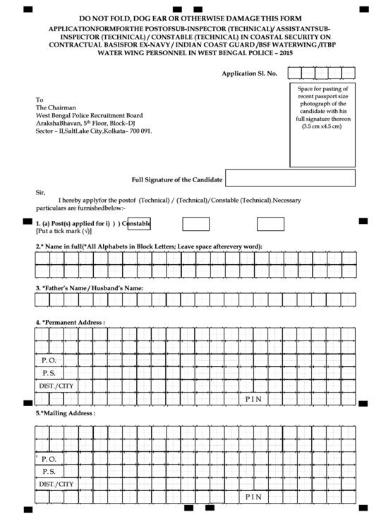 Application Form West Bengal Police Website Printable pdf