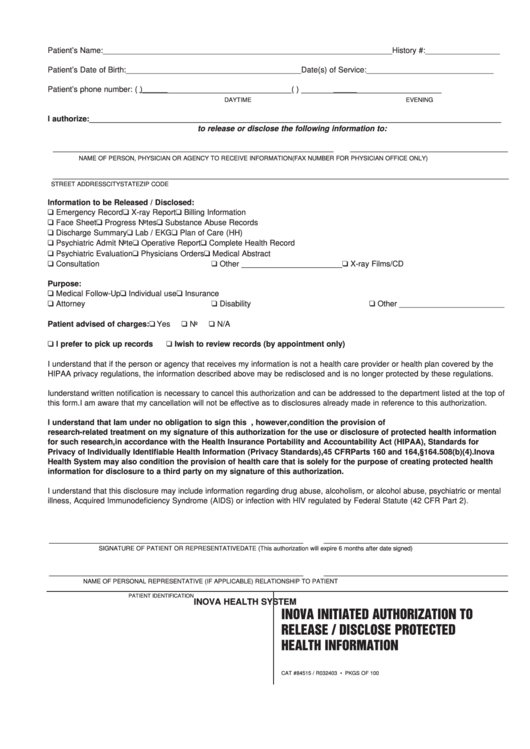 standard medical record release form printable pdf download