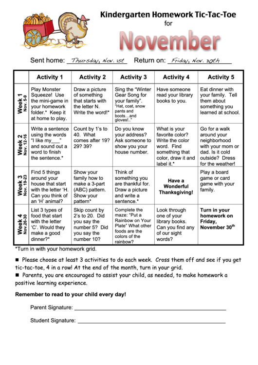 Kindergarten homework tic tac toe printable pdf download for Tic tac toe homework template
