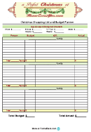 Christmas Shopping List And Budget Planner Template
