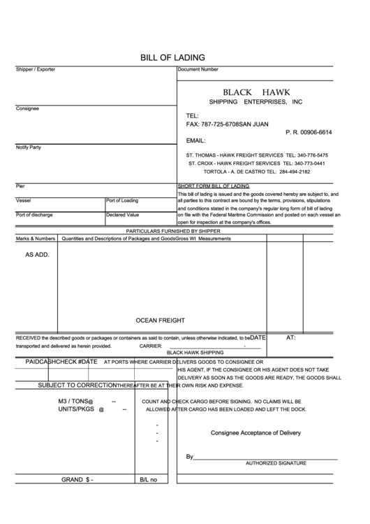 Bill Of Lading Printable pdf