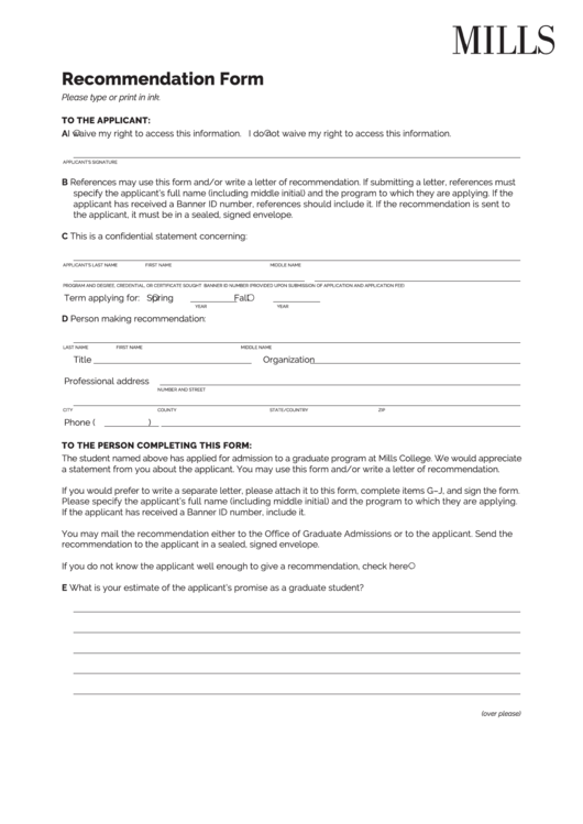 Recommendation Form - Mills College