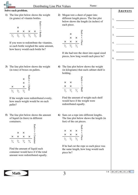 Distributing Line Plot Values Worksheet Printable Pdf Download
