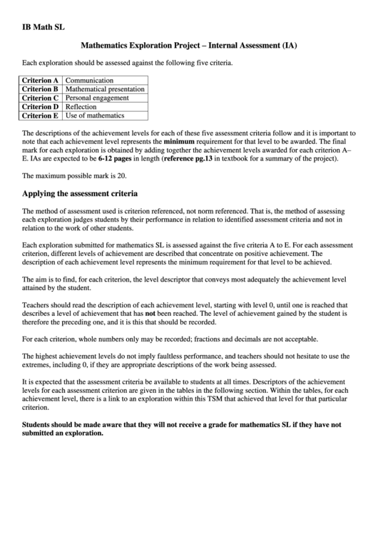 Mathematics Exploration Project - Internal Assessment printable pdf