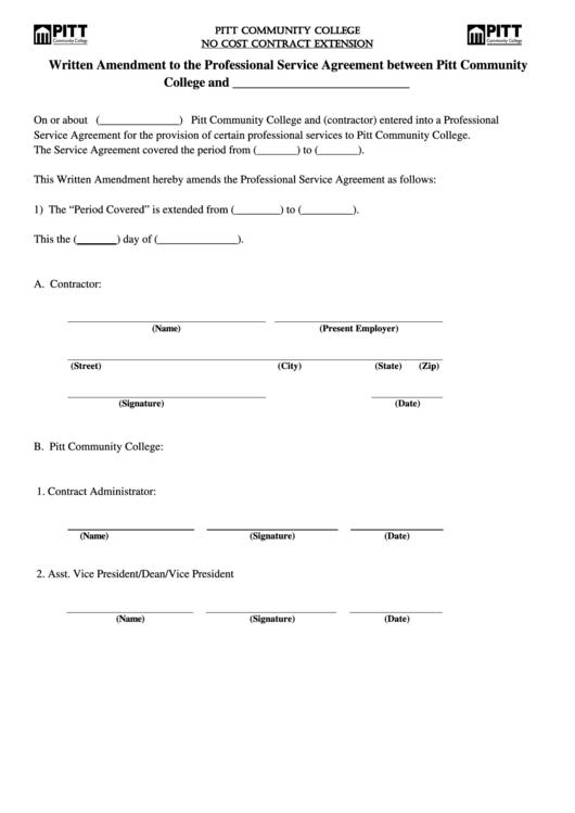 Written Amendment To The Professional Service Agreement Between