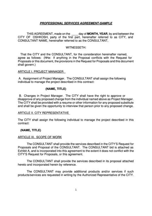 Professional Services Agreement Sample This