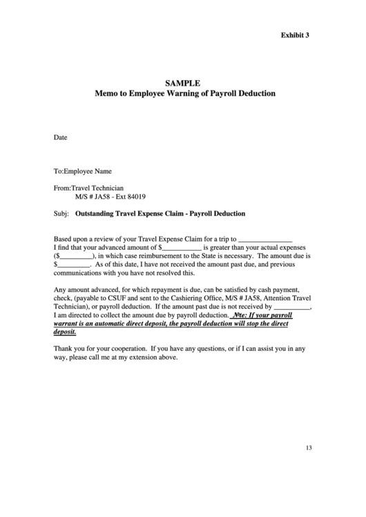 Sample Memo To Employee Warning Of Payroll Deduction Printable pdf