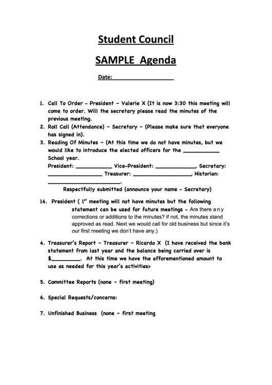 Student Council Sample Agenda Printable pdf