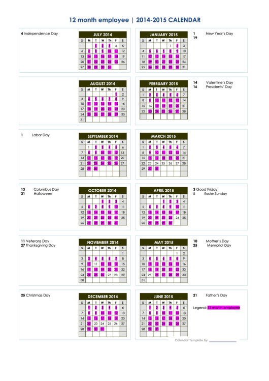 12 month employee calendar template 2014 2015 printable for 4 month calendar template 2014